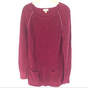 Ann Taylor Cranberry Double Front Pocket Tunic